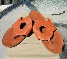 Authentic Bottega Veneta Intrecciato Brown Leather Sz 9.5 Sandals/Flip Flops