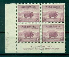 PECORA MERINO - MERINO SHEEP AUSTRALIA 1937/1949 Common Stamp 5d block of 4