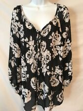 Charter Club Woman 1X Black White Floral Sheer Polyester Shirt Top
