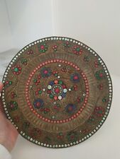 Antique Jeweled Turquoise Coral Filigree Brass plate asian vtg signed?
