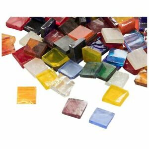 """1000 Pack Glass Mosaic Pieces for Decoration, Square, 40 Colors, 0.4""""x0.4""""x0.1"""""""