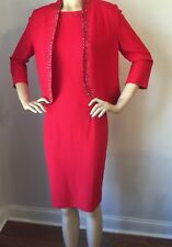 NWT St John Knit dress suit size 4 red Hibiscus with jewels