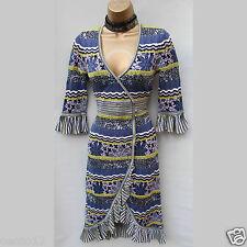 KAREN MILLEN Wrap Stretch Crochet Lace Stripe Knitted Jumper Dress SZ-2 - 10 UK