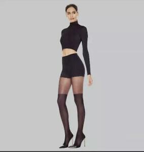 Hanes Premium Women's Perfect Illusion Thigh High Tights - Small -Black
