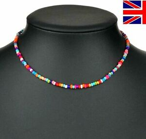 Necklace Choker String Colourful Beaded Strand Womens Girls Jewelry Gift UK
