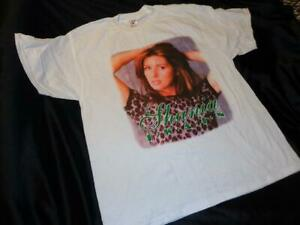 Shania Twain *XL White 1999 Unworn Concert Tour T-Shirt/Leopard Print Top!