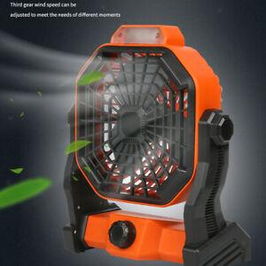 Portable Solar Power Fan LED Light 3-Balde Car Outdoor Tabletop Desk Fan