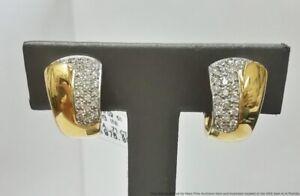 0.71ctw Pave Diamond 18K Yellow White Gold Huggie J Hoop Omega Back Earrings