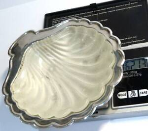 VINTAGE  SILVER  PLATED  MADE IN ENGLAND OYSTER  SHELL TRINKETS JEWELLERY  DISH