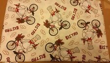 "PRINTED FABRIC LINEN TABLECLOTH SIZE 70"" ROUND (4-6 ppl) FAT CHEF ON BIKE by BH"