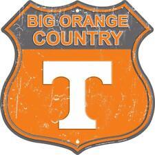 """University of Tennessee Volunteers Orange Country 11"""" Shield Metal Sign Embossed"""