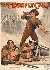 WW1 World War 1 propaganda Australia - Large poster 1914-2014 The Trumpet Calls