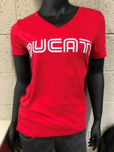 Ducati 1980's Logo Women's V-Neck T-Shirt with GP Motorcycles Logo, RED