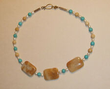 Creany Gold and White Quartz, Jasper, Turquoise and Pearl Necklace