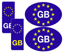 2 Legal Euro GB Oval & 2 Number plate stickers-Free 1st class