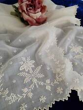 Antique French Whitework Finest Embroidered Bridal Shawl 69x7 ng