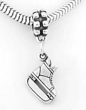 STERLING SILVER HOCKEY PLAYER'S STYLE ICE SKATE EUROPEAN STYLE DANGLE BEAD