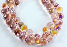 25 Rosaline AB Czech Pressed Glass Teardrops Beads 8x6mm