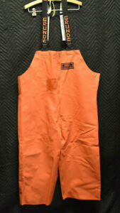 Herkules From Grundens 70% PVC 30% Cotton Orange Bib Fishing Pants Size Large