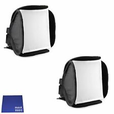 Phot-R 2x 23cm Mini Portable Folding Softbox Diffuser Flashguns Chamois Cloth