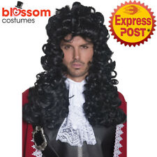 W485 Authentic Pirate Captain Hook Wig Black Long and Curly Costume Accessory