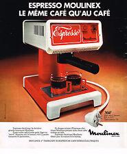 PUBLICITE ADVERTISING 104  1976  MOULINEX  cafetière ESPRESSO