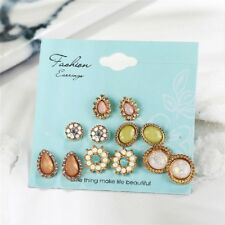 Women Flower Crystal Stud Earrings Dazzling Cubic Water Drop Jewelry 6 Pairs/Set