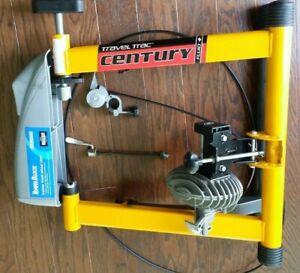 Century Travel Trac Fluid + Bike Trainer w/Travel Block Yellow