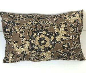 "New Home Pillow Brown Black Woven Cotton 23"" x 15"" Poly Filled Ethnic Modern"