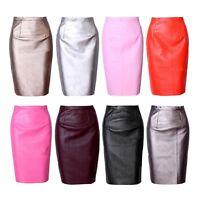 Women PU Leather Pencil Skirt High Waist Sexy Below Knee Skirt Midi Dress S/M/L