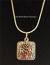 Silver Plated RN Nurse Caduceus Heart Necklace Nursing Graduation Gift 18 inch