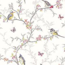 New Holden Decor Designer Shabby Chic Songbirds Phoebe White  Wallpaper 98080