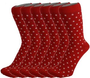 6 Pairs Men Cotton Rich Red/White Polka Dot Everyday Ankle Socks