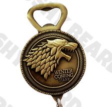 Game of Thrones Bottle Opener Gold Jon Snow Winter Is Coming Stark Wolf Keyring