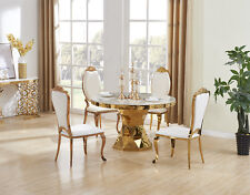ELEGANT STUNNING NIRVANA GOLD DINING TABLE MARBLE TOP WITH 4 AZURE CHAIRS