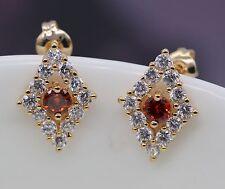 Unique Orange Crystal Stud Earrings 18K Yellow Gold Plated Zircon Earring
