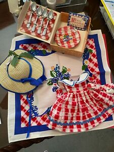 Muffy Picnic Accessories, table cloth, plates, silverware, dress, hat, basket