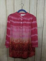 Chicos Womens Size 1 (Medium) Pink Orange 3/4 Sleeve Sheer Button Down Tunic Top