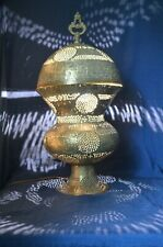 Antique Brass Table Lamp~Middle Eastern~Persian~Calligraphy~Pierced~Etched