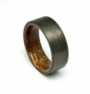 Ring For Men Women Wedding Band Ring Black Ring Carbon Fiber Mahogany Wood