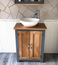Bathroom Vanity Unit Grey Painted & Solid Oak Wash Stand & White Ceramic Basin