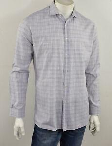 HUGO BOSS Purple & White Plaid Check ENDERSONX Cotton Dress Shirt 16.5 34/35