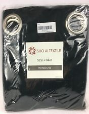 """Suo Al Textile 52"""" x 84"""" Window Panel Black 1 Panel New"""