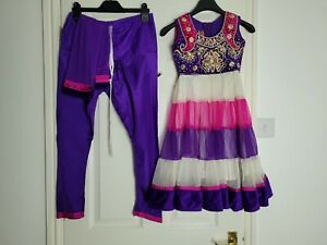 Girls Pink Partywear Anarkali Salwar Kameez Indian Eid Age 5 to 6