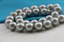 """Pearl Necklace 925silver clasp #f2430! 18"""" Genuine Natural 12mm Gray Round"""