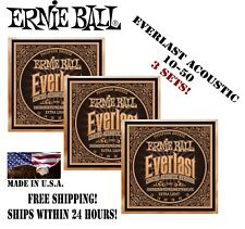 *3 Sets! Ernie Ball 2550 Everlast Coated Phosphor Bronze Extra Light Strings*