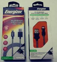 2 Energizer Long Nylon Braided Lightning Cable 1.2m USB C charger cord for Apple