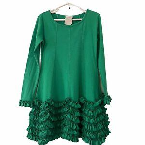 Lemon Loves Lime Green Ruffle Long Sleeve Dress  Sz 6 Years Holiday