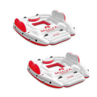 Intex Inflatable Marina Breeze Island Lake Raft w/ Built-In Cooler, Red (2 Pack)