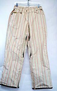 O'Neill Freedom Series Womens Medium Striped Tan Snowboard Ski Pants (F7)